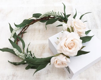 Woodland green foliage leaf and ivory rose CARA flower crown - halo - bridal - wedding - bride - flower girl - vintage - festival