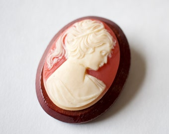 Cameo Brooch on Wood Backing