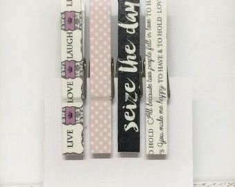 Inspirational Decorated Clothespins, inspirational photo clips, decorated clothespins for frame, clothespin push pins
