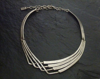 Adjustable, contemporary, necklace silver or gold, handcrafted Tin