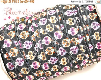 "SALE 10 % OFF 5/8"" Print Fold Over Elastic - Halloween Skulls - Black Skull Print Elastic- Halloween/Fall-Black Elastic FOE-Hair Accessories"