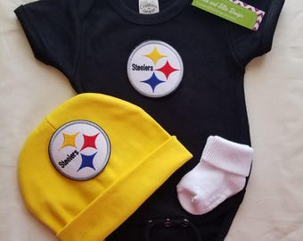 baby boy Pittsburgh Steelers outfit with hat-Steelers baby boy shower gift- Steelers for newborn-Pittsburgh Steelers take home/baby steelers