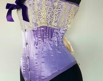 Perfect Lilac Purple Victorian Overbust Corset Lovely for Boudoir Shoots or Vintage Halloween Costume Steel Boned Handmade with Love