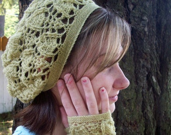 Chartreuse wool trilobite tam lace beret slouchy beanie