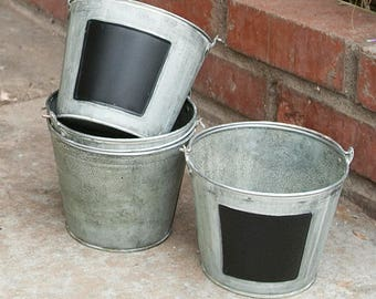 10 Galvanized Bucket Set with Chalkboard Inset  | Painted Rustic Farmhouse Decor | Bulk Buckets | Wedding Decor | Easter | Planters