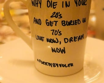 """Poetry by Voler Stoneware Coffee Mug """"LIVE NOW"""""""