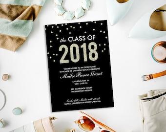 Gold and black graduation party invitation, class of 2018, faux glitter graduation open house, printable invitation