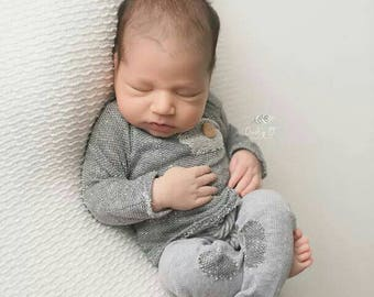 Baby Boy Romper, baby 1st birthday outfit boy, baby sweater, Newborn Romper, Cake Smash outfit, Christmas baby outfit, gray baby shirt