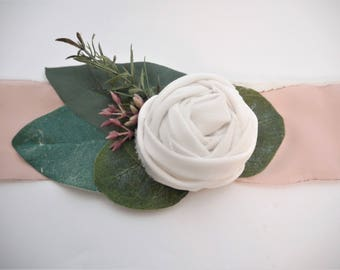 Whimsical Greenery, Fabric Flower Corsage | Eucalyptus Corsage | Rustic Corsage | White Fabric Flower | Greenery Wrist Corsage