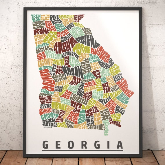 Georgia Map Art Georgia Art Print Georgia Typography Map - Map of georgia cities