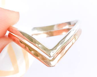 Gold and Silver Chevron Ring, 14K Gold Filled and Sterling Silver Double Chevron Ring, 2 V Gold and Silver Ring, Gold and Silver Thumb Ring