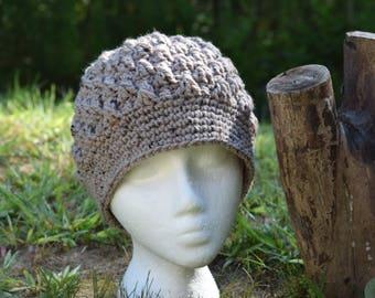 Crocheted hat - popcorn no brim; light brown/beige/tan, speckled; women/girl