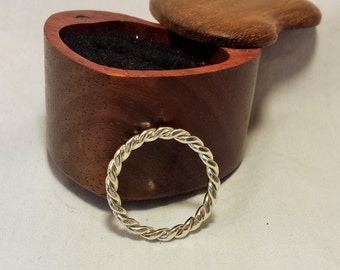 Hammered sterling silver twist band