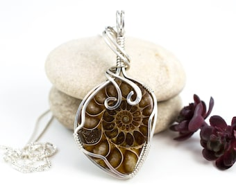 Ammonite pendant - Sterling Ammonite Necklace - Wire Wrapped Pendant -
