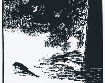Magpie Morning Linocut Relief Print, Hand Pulled Fine Art, Limited Edition, Printmaking Original