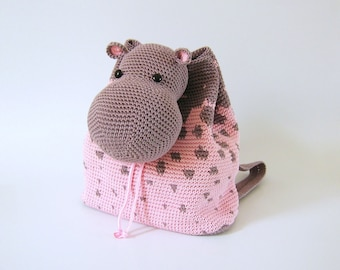 Crochet pattern for hippo backpack. Cute and practical accessory for kids. Charts with symbols, written instructions, photo tutorial.