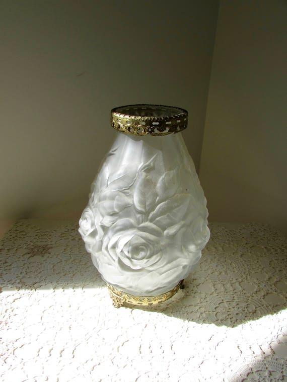 Art Nouveau Embossed Satin Vase With Brass Ormolu Mounts