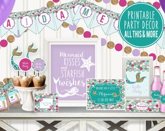 Mermaid Baby Shower Decorations Printable, Under The Sea ...