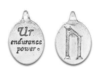 Set of two Rune Pendant, Ur Rune Symbol, Norse Symbol, Celtic Symbol, Uruz Rune, Ur, Endurance, Power, Pewter Charms, Made in USA