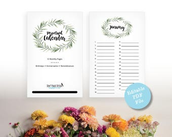 Printable Leaf Perpetual Calendar, Editable Birthday Calendar, Anniversary Calendar, Green Leaf Wreath Eternal Planner, Instant Download PDF