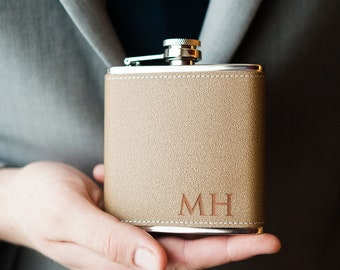 Engraved Hip Flask, Groomsman Gift, Custom Leather Flask, Groomsmen Flask, Personalized Flask, Gift for Him, Groomsmen Gifts, No Gift Box
