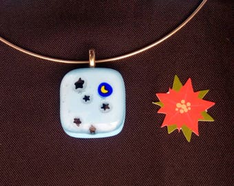 "Necklace ""Starry night"" fused glass"