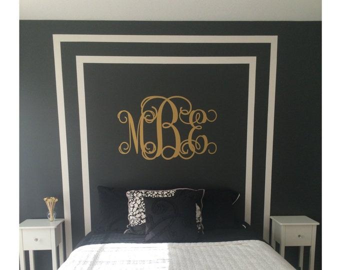 Vine Monogram Decal Large Vinyl Wall Decal Interlocking Swirly Vine Font Monogram Nursery Bedroom Housewares