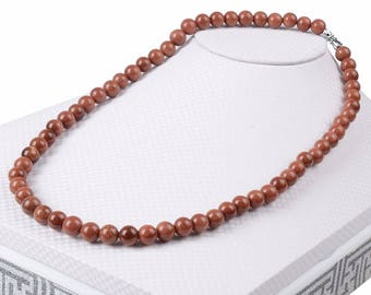 red gold sand stone natural 45 cm necklace