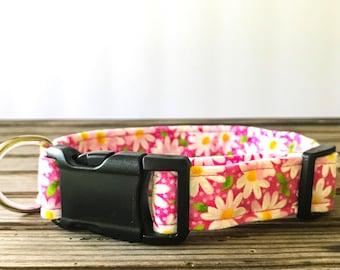 Dog Collar / Daisy Floral Dog Collar / Pink Dog Collar / Fabric Dog Collar / Girl Dog Collar / Designer Dog Collar / Pet Collar