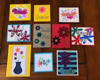 Handmade Cards/Assortment Set of Floral Cards