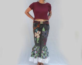 Embroidered Flouncy Jeans, Inspired by Free Funky Festival Clothes, Upcycled Jeans, Boho Fairy Victorian, Resplendent Rags, Freestyle