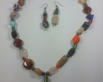 Multi Bead Necklace and Earring Set