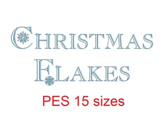 Christmas Flakes embroidery font PES format 15 Sizes instant download