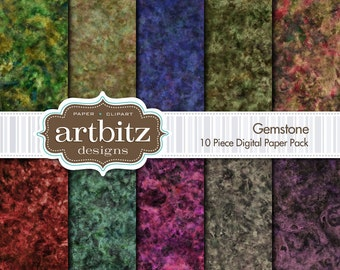 "Gemstone 10 Piece Marbled Texture Digital Scrapbooking Paper Pack, 12""x12"", 300 dpi .jpg, Instant Download!"