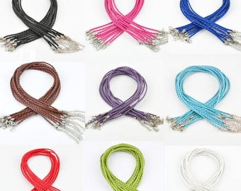 Choose From 9 Colors - 10 Pieces Per Lot DIY Real Leather Chains String Cord 3mm Pendant Necklace Braided Rope with Lobster Clasp