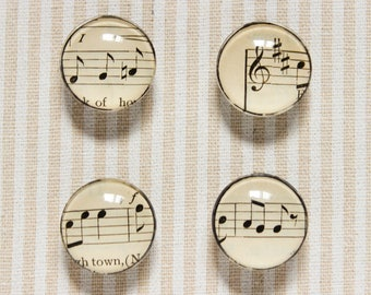 "Music Sheet Glass Magnets / / Kitchen magnets Office Deco, Music magnets, Fridge Magnet, 1 ""magnets, Set of Four Magnets, Glass Magnet"
