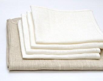 """Set of 8 White Linen Napkins. Size: 18"""" X 18"""" (45cm X 45cm)."""