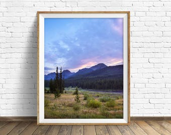 """landscape photography, clouds, mountains, large art, large wall art, colorful landscape, instant download printable art -""""Sunset at Hyalite"""""""