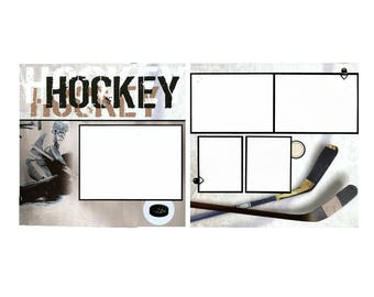 Hockey Scrapbook Page de jeu - deux 12 x 12 Pages de coordination