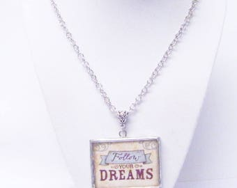 "Silver Finished Frame Square Pendant Necklace w/""Follow YOUR DREAMS"" Message"