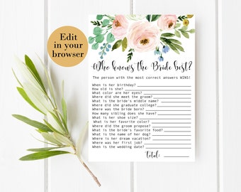Who Knows the Bride Best, Editable Spring Bridal Shower Game, Pink Bridal Shower Printables Blush Bridal Shower Know The Bride Quiz Greenery
