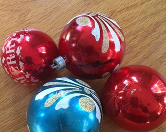 Vintage Christmas Ornaments, Reds and Blues , Two 1960's Era Molded Plastic, Two Vintage Glass