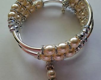 Silver Tone and Pearl Memory Wire Bracelet and Matching Earrings