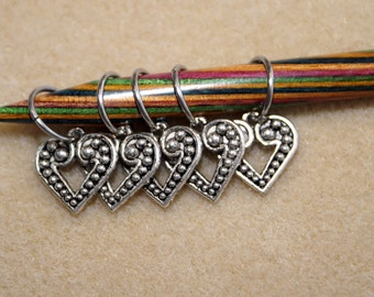 Knitting Stitch Markers -Valentine Heart Pewter Charms