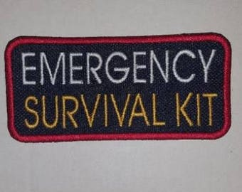 Emergency Survival Kit - Embroidered Sew On Patch - U Pick Color Combo