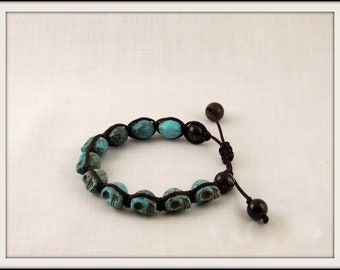 Adjustable Synthetic Turquoise Skull Macrame Bracelet