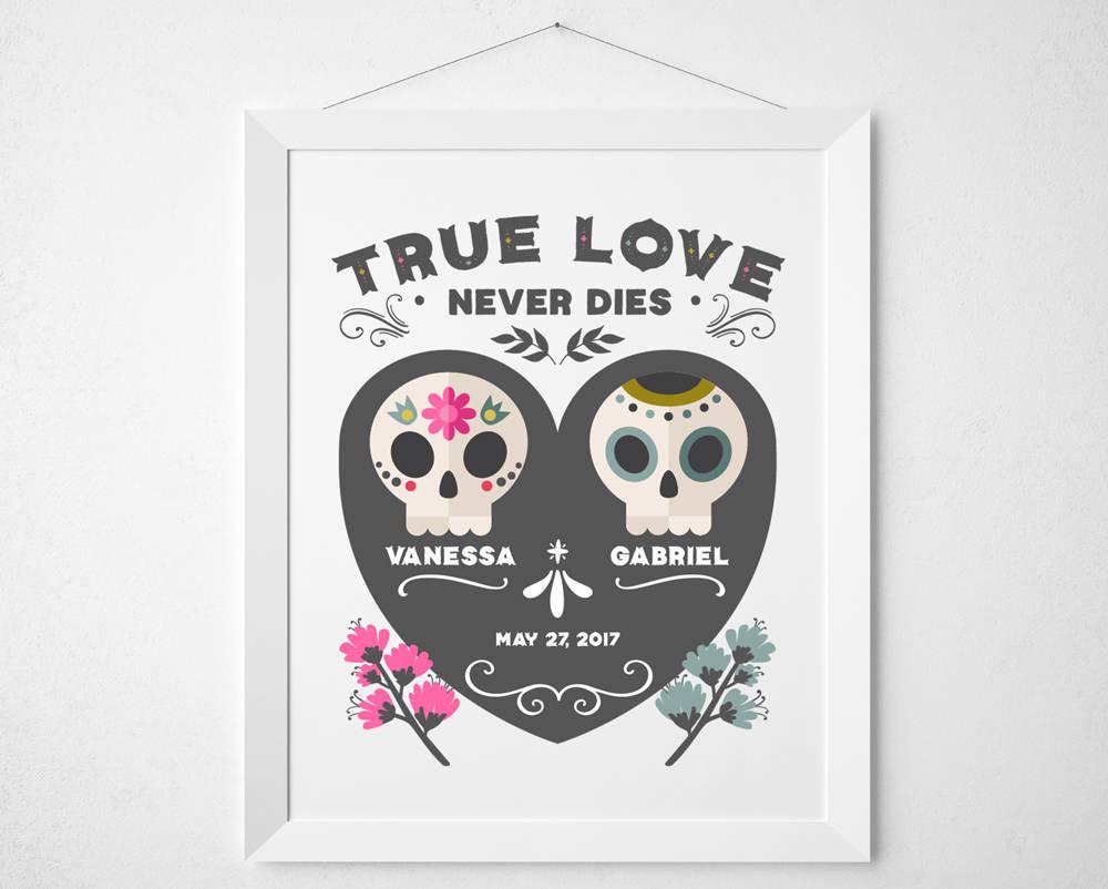 True Love Never Dies custom couple name skeleton skull