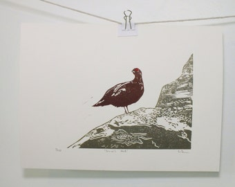 Almost famous Grouse on rocks linocut print - Simon's Seat nature art - mulberry grey-beige