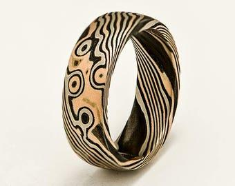 Mokume Gane Woodgrain Ring 14-karat Rose Gold, 14-karat Palladium White Gold and Sterling Silver.