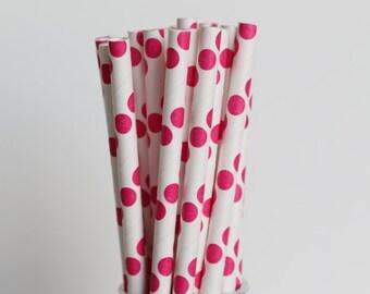 Pois rosa scuro cannucce-Mason Jar di carta carta rosa scuro-cannucce cannucce-matrimonio cannucce-Polka Dot cannucce rosa partito cannucce-Drinking cannucce